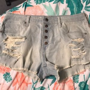 High Rise Mossimo Shorts Ripped Denim Aesthetic